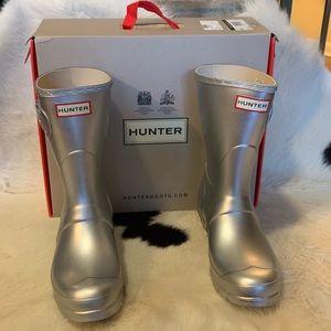 Hunter Original Short Boots NIB Silver 7